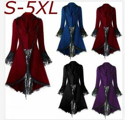 Damen Frack Jacke Gothic Steampunk Victorian Halloween Party Kostüm Plus Size5XL