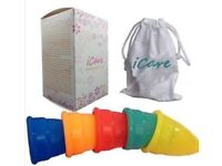 1 box (300) of iCare Menstrual Cup 2 Sizes, orange, pink, white, blue