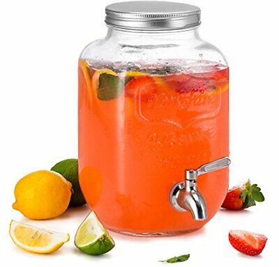 KooK Mason Jar Glass Drink & Beverage Dispenser with Stainle