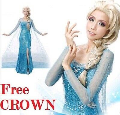Frozen Elsa Party Kostüm Erwachsene Perücke Option Gratis Tiara ()