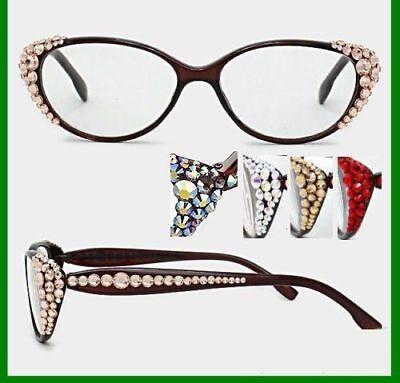 Crystal Rhinestone Side Oval Reading Glasses Optical Frame Lens Brown (Crystal Side Lens)