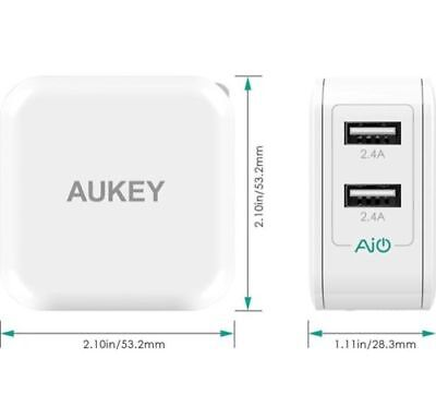 AUKEY Dual USB Close off Charger 2 Port Adapter Plug Samsung Galaxy iPhone X S9 24w