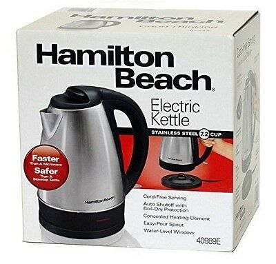 Hamilton Beach Electric Kettle Stainless Steel 1.7 Liter/7.2 Cup 40989E