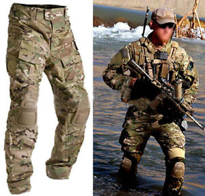 Military-Airsoft-Paintball-Combat-Tactical-BDU-G3-Pants-Knee-Pads-Multicam-MC