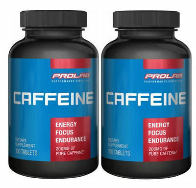 ProLab Caffeine 200 mg 100 Tablets Energy Focus Performance Pill Pack of 2