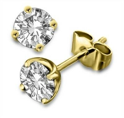 2ct (6.5mm) 9K Yellow Gold VS/FG GENUINE Round Moissanite Diamond Stud Earrings