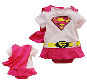 Baby Boys Girls Superman Batman Superwoman Costume Outfit Romper Size 000,00,0,1