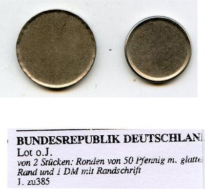 Ronden von 50 Pfennig glatter Rand  u. 1 DM mit Randschrift