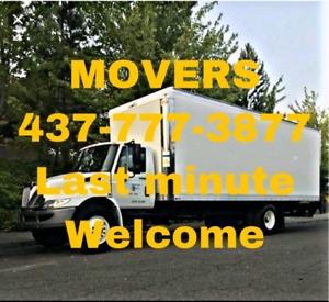 Movers,, short notice ok!! 437-777-3877