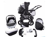 Pram pushchair stroller 3 in 1 + car seat + carrycot BRAND NEW