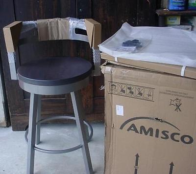 Amisco 41243-26WE 26inch Vector Swivel Metal Bar Stool With Distressed Wood Seat