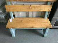 Handmade bench with back