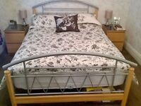 Ornate Pine and Silver double bed