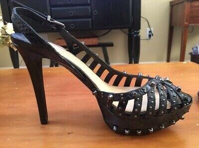 Gianni Bini Platform Heels Slingback Peep Toe Black Patent w/Silver Studs Size -