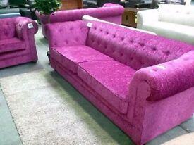 Elegant Chesterfield 3 Seater Chenille Fabric Sofa - Fuchsia or Charcoal NEW