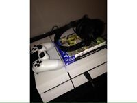 White PS4 500GB with 2 games and a headset