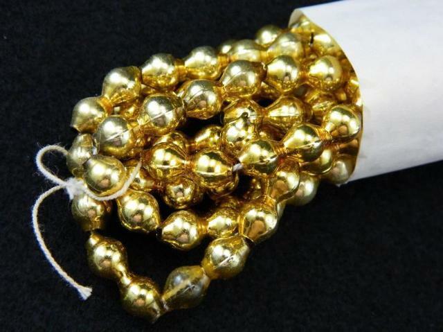 "Vintage Christmas Tree Garland Gold Mercury Glass 1/8"" Beaded 7.5"
