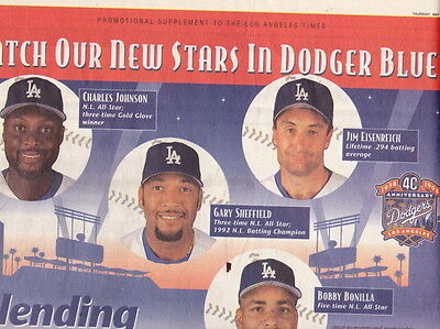 Los Angeles Dodgers La Times 40Th Anniversary Section 5 28 98