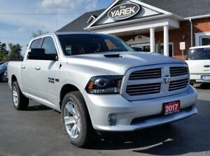 2017 Ram 1500 Sport 4x4, Leather Heated/Vented Seats. Remote Sta