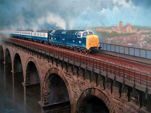 Deltic at Durham.  Signed Print of a painting by John Austin FGRA