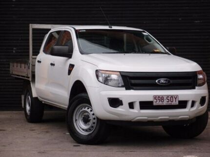 2012 Ford Ranger PX XL Double Cab 4x2 Hi-Rider Cool White 6 Speed Auto Seq Sportshift Cab Chassis Southbank Melbourne City Preview