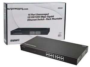 16 Port Unmanaged 10 100 1000 Mbps Gigabit Ethernet Switch