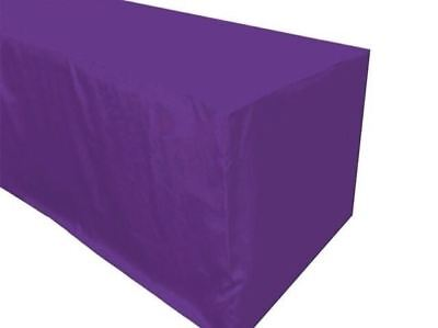 8 Ft. Fitted Polyester Tablecloth Trade Show Booth Wedding Table Cover Purple