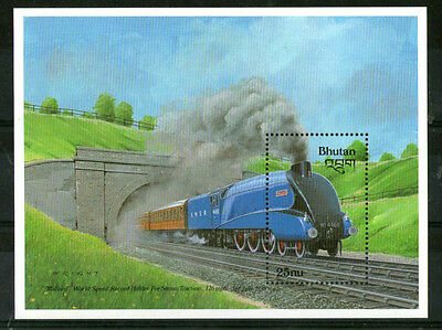 BHUTAN 1988 THE MALLARD LOCOMOTIVE COMMEMORATIVE MINIATURE SHEET MNH