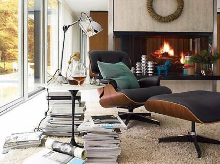 Lounge Chair and Ottoman - Eames Reproduction, Walnut Brown Woolooware Sutherland Area Preview