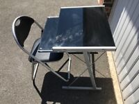 Black Glass Computer Desk & Chair