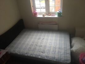 Double mattress and leather bed frame
