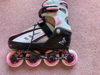 SFR Vortex Pink Adjustable Childrens Inline Rollerskates - UK size 3-6