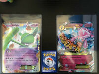 Big Mega Diancie EX and Gallade EX cards with free toploader