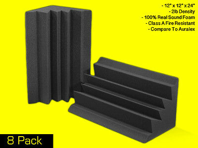 "Soundproofing Foam Acoustic Bass Absorbers Corner Traps (8 Pack) 12""x12""x24"""