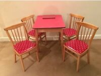 Red Formica 1960's refurbished Table and x4 chairs with Cath Kidston material
