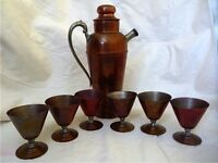Vintage copper cocktail shaker set with six copper glasses