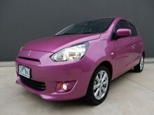 2013 Mitsubishi Mirage LA MY14 Pink 1 Speed Constant Variable Hatchback Braeside Kingston Area Preview