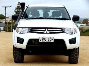 2014 Mitsubishi Triton MN MY15 GLX Double Cab White 5 Speed Manual Utility Christies Beach Morphett Vale Area Preview