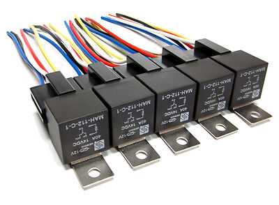 5 PAIR - PREMIUM 12V 40 AMP 5-PIN RELAY & 5 WIRE SOCKETS WIRE HARNESS SPDT 12V