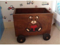 SOLID WOOD TOY/ STORAGE BOX ON WHEELS