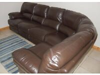 Brown Leather Corner Sofa with free delivery if required (see below)