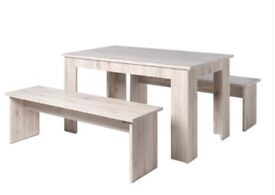 Two laminated wood benches