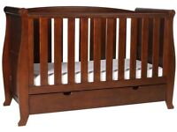 Kiddicare 3 In 1 Walnut Sleigh Cot With Mattress