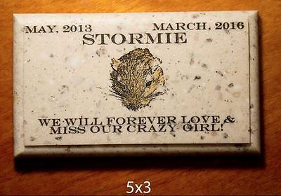 "Custom Pet Memorial Grave Marker 5""x3"" Headstone Stone Plaque Dog Cat Gerbil"