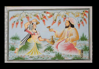 Hanging Wall Silk Painting Scene of Life Art Mughal India 71x46cm A3 1170