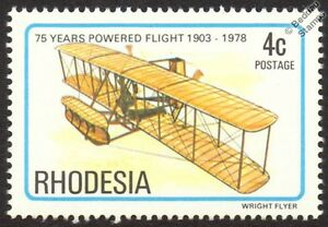 WRIGHT-FLYER-I-First-Powered-Flight-Aircraft-Stamp-1978-Rhodesia