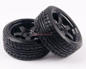 4pcs Drift Hard Tires Tyre & Plastic Wheel Rim Fit Rc 1:10 On-Road Car 6030-9014