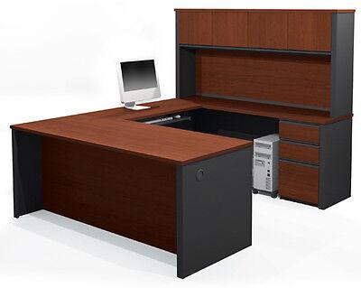 Bestar Prestige U Computer Desk With Hutch In Bordeaux Graphite - 99853-1739