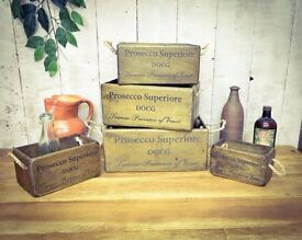 Brand New hardwood with a higher wax polish Prosecco Style Vintage Storage Box (extra small)