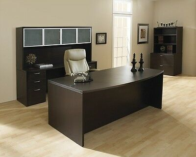 New Napa Espresso Bowfront Executive Office Desk Set-credenzahutchlateral File